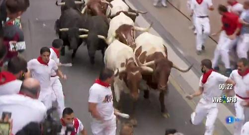 Un salmantino herido en el encierro de San Fermín, con pronóstico 'menos grave'